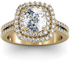 Ice 2 1/2 CT TW Diamond 14K Gold Vintage Inspired Square Dual Halo Engagement Ring