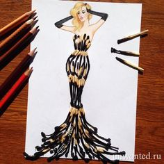 How to Draw a Fashionable Dress - Drawing On Demand Arte Fashion, 3d Fashion, Fashion Dresses, Fashion Design Drawings, Fashion Sketches, Drawing Fashion, Fashion Sketchbook, Collage Kunst, Illustration Mode