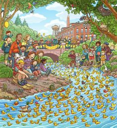 Rubber Ducky Race by Chuck Dillon, via Behance- Rubber Ducky Race- just like the one in Buena Vista