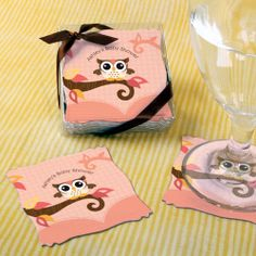 Owl Girl - Look Whooo's Having A Baby - Personalized Baby Shower Coasters (Set of 15) $9.99