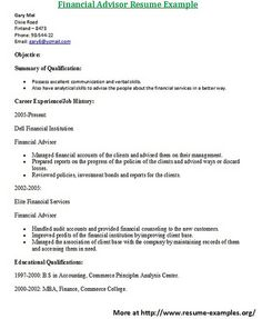 for more and various finance resumes examples visit wwwresume examplesorg