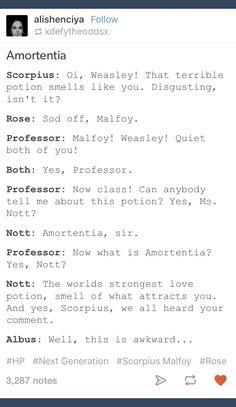 Scorpius Malfoy; Rose Weasley; ScoRose; Albus Severus Potter; Harry Potter; amortentia
