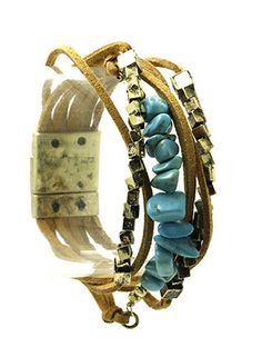 NATURAL STONE CHIPS FAUX SUEDE BAND BRACELET