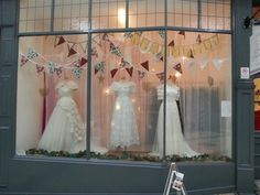 The Bridal Emporium window display December 2014 British and Vintage Wedding Dresses