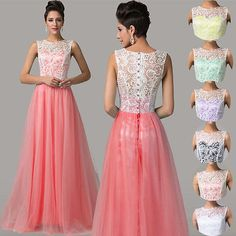 Vintage Long Formal Evening Party Gown Bridesmaid Prom Dress Wedding LACE Dress