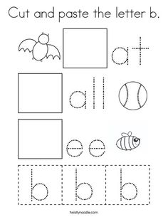 Cut and paste the letter b Coloring Page - Twisty Noodle Letter B Activities, Letter Worksheets For Preschool, Preschool Writing, Kindergarten Learning, Kindergarten Math Worksheets, Preschool Activities, Preschool Letters, Preschool Curriculum, Homeschooling