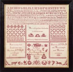 ENGLISH SAMPLER WORKED BY LILLA SARAH BOND OF THE ASHLEY DOWN ORPHAN HOUSE, BRISTOL, 1884.