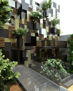 // Really cool natural elements at the Goldsmith Apartment Building, Mexico City, Mexico. A project by: Carlos Pascal, Pascal Arquitectos