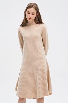 플레어 헴 니트 드레스 Knit Skirt, Handsome, High Neck Dress, Turtle Neck, Knitting, Skirts, Sweaters, Dresses, Women