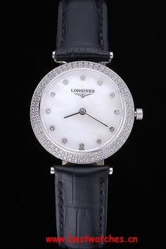Longines La Grande Classique White Round Dial Diamond Case Diamond Numerals Black Leather Band