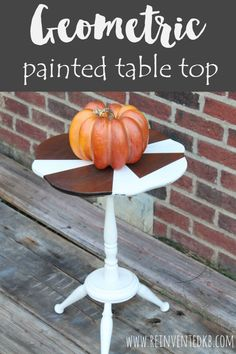 Looking for unique painted side table ideas?  This paint and stain combo is easy and will add interest to your home decor! via @ReinventedKB