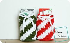 Candy Cane Inspired Drawstring Gift Card Holder Bag ~ easy ~ FREE - CROCHET