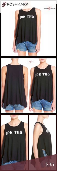 "'IDK THO' Tunic Tank Coverup  NEW WITH TAGS   RETAIL: $45   SIZING- S = 4-6, M = 8-10   Black Tunic Tank Coverup  * A relaxed & oversized fit  * Incredibly soft & comfortable  * Graphic print detail on front ""IDK THO""  * About 25"" long  * A scoop neckline & handkerchief hem   Fabric: 50% cotton & 50% Modal; Machine wash  Color: Black Item# SEARCH# cold shoulder    No Trades/PAYPAL ✅ Offers Considered ✅ * To submit an offer use the blue 'offer button'. ✅ Bundle Discounts ✅ Ten Sixty Sherman…"