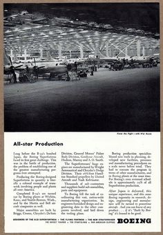 1945 WW II BOEING B-29 Superfortress Bombers Production Assembly Plant Photo AD