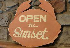 Antique/VTG Metal Restuarant Nautical Advertising Open Sign,Crab Shaped, OLD!