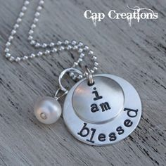 "Cap Creations ""I am blessed"" necklace. $34... @Melissa Lewis I thought you might like this. I ordered one a month ago. It is my favorite necklace!"