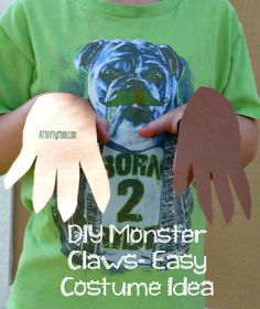 diy monster claws, easy costume idea, thrifty costume, easy costume, claws, monster hands, thrifty monster costume