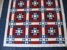 Awesome red,white, blue quilt with free pattern