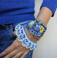 Bracelet Cuff, Crochet Bracelet Cuff, Blue Cuff Bracelet, Beaded Bracelet Cuff, Beaded Crochet Jewelry,Crochet Jewelry, Freeform Crochet by SvetlanaCrochet on Etsy