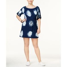 Standards and Practices Trendy Plus Size Betsey Drawstring Dress (87 CAD) ❤ liked on Polyvore featuring plus size women's fashion, plus size clothing, plus size dresses, bleached denim, white day dress, white convertible dress, white denim dress and multi way dress