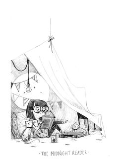 Alex T. Smith little girl reading in tent illustration/sketch
