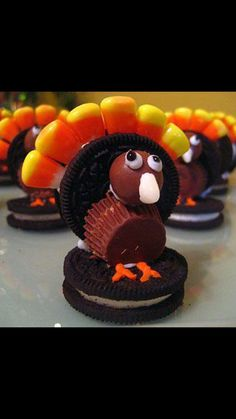 Turkeys made with oreos, reese's cups, malted milk balls and candied corns.