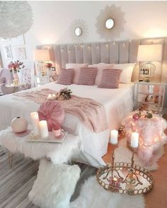 Delightful bedroom decor ideas for a good night sleep. Bedroom Decor For Teen Girls, Cute Bedroom Ideas, Girl Bedroom Designs, Room Ideas Bedroom, Home Decor Bedroom, Shabby Bedroom, Glam Bedroom, Shabby Cottage, Teen Room Designs