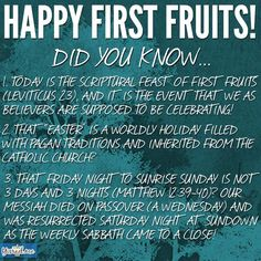 Easter or Passover and First Fruits?