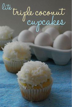 Lite Triple Coconut Cupcakes!  These delicious, coconutty cupcakes are low-fat and low-cal... and unbelievably scrumptious! #coconut #cupcakes #skinny #skinnydesserts