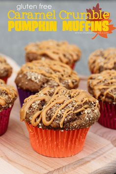 The most AMAZING Gluten Free {Caramel Crumble Pumpkin Muffins} you'll ever taste!