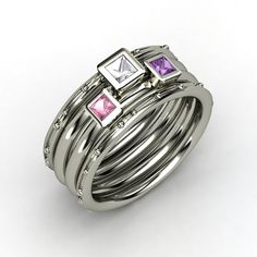 Princess Rock Crystal Sterling Silver Ring with Amethyst & Pink Tourmaline  WANT WANT WANT... kids birthstones.  Perfect 40th bday gift! : )
