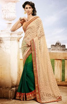Gorgeous Shaded Green and Cream Saree