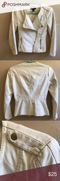 """Canvas and faux leather fitted moto blazer jacket Super cool off white fitted blazer moto jacket with gold hardware. Perfect condition and never worn. Just in time for the """"white out"""" trend this spring. Size 4 H&M Jackets & Coats Blazers"""
