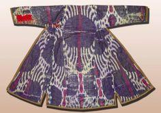 Antique Long Traditional UZBEK Natural Silk Cotton Ikat ADRAS Robe Chapa V3049 | eBay