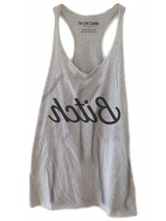 Fifty5 Clothing Women's Reversed Bitch Vintage Racerback Tank Top - Heather Grey