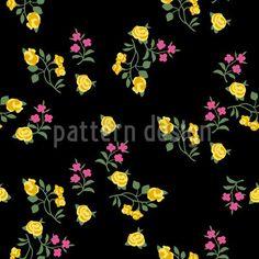 Scattered Flowers On Black by Katrin Kristjansdottir available as a vector file on patterndesigns.com