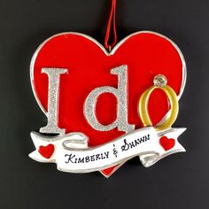 Off Shipping on or More Items Worldwide ------------------------------------------------------- Beautiful Hand Crafted I Do themed Christmas Tree Ornament for couples. I will hand-personalize your ornaments in permanent black ink Christmas Tree Themes, 1st Christmas, Christmas Tree Ornaments, Personalized Christmas Ornaments, Handmade Ornaments, Custom Made Gift, Holiday Gifts, Newlyweds, Resin