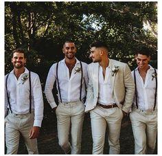 Groomsmen Suspenders, Leather Suspenders, Groom And Groomsmen Attire, Wedding Suspenders, Groomsmen Proposal, Beach Wedding Groom Attire, Casual Groom Attire, Groom Attire Rustic, Tan Suit Wedding