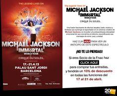 Si eres Socio, un 10% de descuento en tus entradas para Michael Jackson The Immortal World Tour, del Cirque du Soleil.