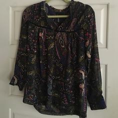 Rayon top from Anthropologie Floral long sleeve top , gorgeous Tops Blouses