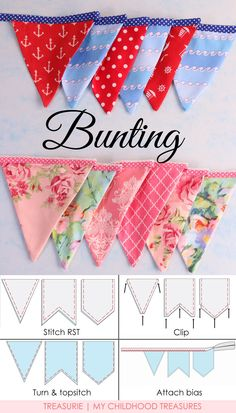How to Make Bunting: 3 Bunting Template Shapes Bunting Template, Bunting Tutorial, Bunting Pattern, Make Bunting, Bunting Garland, Fabric Bunting, Diy Garland, Buntings, Garlands