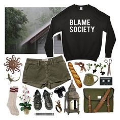 """""""Hang on to the good days"""" by purpleghost ❤ liked on Polyvore featuring INDIE HAIR, Current/Elliott, Sandqvist, Nearly Natural, Cyan Design, Dr. Martens, CASSETTE, Pier 1 Imports and H&M"""