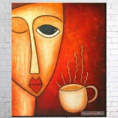 Hand Painted On Canvas Coffee And Woman Abstract Oil Painting