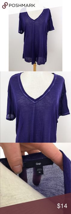 "Purple Sheer V-Neck Tunic Tee Brand: Gap Condition: Preloved  Style: 3/4 sleeve // large rose design  Colors: Purple  Size: XL  Armpit to armpit 18""  Length 30""  **pictures are part of the description - please look closely**  Now accepting offers on bundles ! One low shipping rate no matter how many pieces are bundled 💕 GAP Tops Tunics"