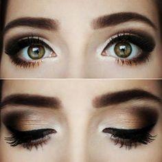 A warm chocolate smokey eye look