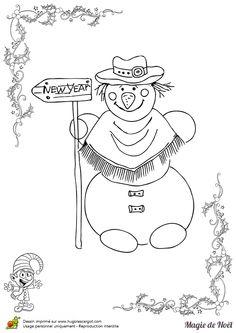 Un bonhomme de neige souhaitant une bonne année à colorier pour noël
