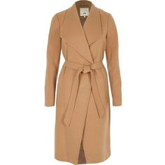 River Island Camel belted robe coat (£130) ❤ liked on Polyvore featuring outerwear, coats, coats / jackets, women, river island coats, beige shawl, tall coats, beige camel coat and shawl coat