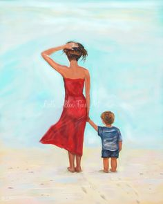 "Mother And Son Mother Art Print Beach Painting Mom Son Beach Woman Beach Mothers Day Boy Girl ""Loving My Little Man"" Leslie Allen Fine Art"