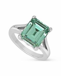 There can never be another you.  8.95 Carat Emerald Cut Green Moissanite Solitaire Split Shank Engagement Ring.