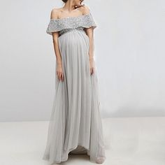 af23b60e9597 Maternity Sequin Decorated Top Tulle Detail Dress